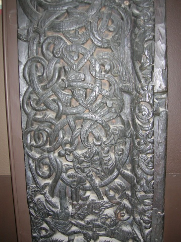 Replica of carved Norwegian church door