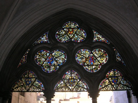 Westminster Abbey, detail of stained glass